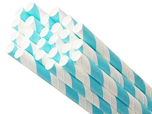 Biodegradable Environmentally Friendly Plant Based Paper Straws for Drinking, Parties, Birthdays and Decorations. 8 Different Rainbow Stripe Colors - 50 Pack (Light Blue)