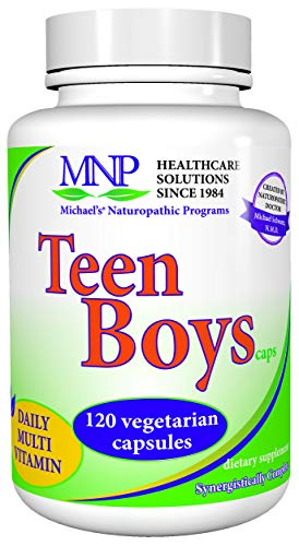 Michael's Naturopathic Programs Teen Boys Capsules - 120 Vegetarian Capsules - Daily Multivitamin & Mineral Supplement with B Complex Vitamins & Male Herbal Blend - Kosher - 60 Servings