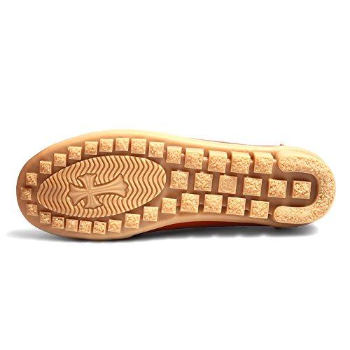Tiosebon Mocassino Da Donna In Vera Pelle Mocassino Slip Flat Su Casual Driving Shoes A-211 Arancione