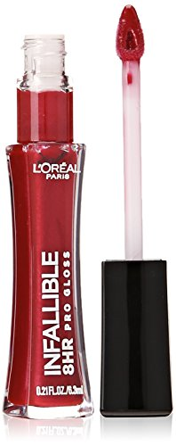 8 Hour Pro Moisturizing and Hydrating, L'Oreal Paris Infallible, Long-Lasting, smooth, soft, colorful and even toned Lip Gloss, no fading, lip makeup with glossy finish, Rebel Red, 0.21 oz