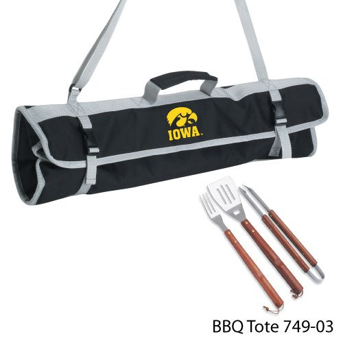 NCAA Iowa Hawkeyes 3-Piece BBQ Tool Set With Tote