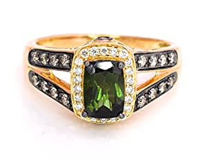 LeVian Ring Chrome Green Tourmaline Chocolate and Vanilla Diamonds 1.17 cttw 14k Yellow Gold New Size 7