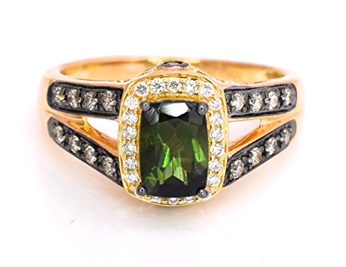 - LeVian Ring Chrome Green Tourmaline Chocolate and Vanilla Diamonds 1.17 cttw 14k Yellow Gold New Size 7