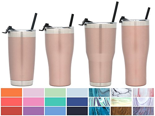 - Simple Modern 32oz Slim Cruiser Tumbler with Straw & Closing Lid - Vacuum Insulated Double Wall Metal Vessel - Travel Mug 18/8 Stainless Steel Thermos - Rose Gold