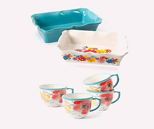 The Pioneer Woman 2-Piece Rectangular Ruffle Top Ceramic Bakeware Set with 16 oz Coffee Cup Set of 4