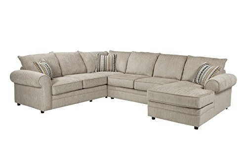 1PerfectChoice Fairhaven Cream Herringbone Sectional