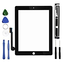 """TongYin Replacement Touch Digitizer Glass 9.7"""" for Apple iPad 3,touch screen Retina Display w/ IC Connector, Adhesive and Repair Tool Kits - Black"""