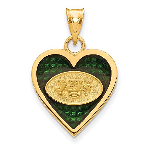 NFL Sterling Silver GP New York Jets Enameled Heart Pendant