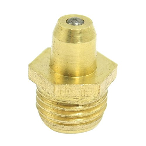BARGAIN HOUSE Grease Nipple Straight M10 Screw Brass Lubrication Tool Gold Tone Brass Grease Nipples Fittings Copper Mouth