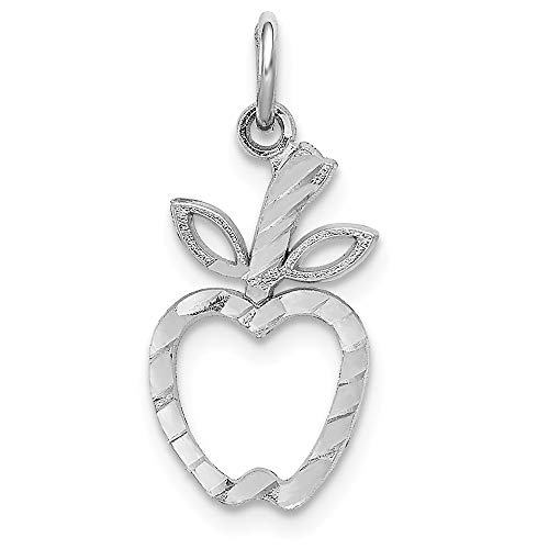 14k White Gold Apple - 14k White Gold Apple Pendant Charm Necklace Career Professional Teacher Fine Jewelry Gifts For Women For Her