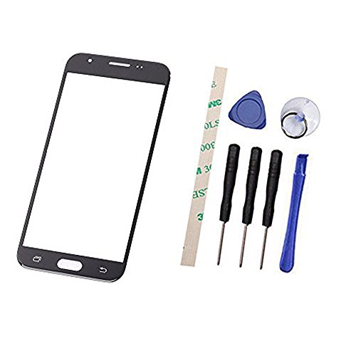 General Outer Screen Front Glass Lens Replacement for Galaxy J3 2017 Emerge SM-J327A SM-J327P J327T1 J327 J327R4 J3 Amp Prime 2 SM-J327AZ (Not LCD and Not digitizer) (Black)