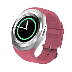 Lisin Smartwacth 2018 Bluetooth Smart Watch Phone Mate Full Round Screen SIM For Android For IOS (Pink)