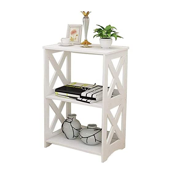 """Rerii End Table, 2 Tier Small Side Table, Simple Bedside Nightstand, Small Bookcase Bookshelf, Display Rack Shelf for Bathroom, Bedroom and Living Room, White - 【WOOD PLASTIC COMPOSITE】This little storage rack is made of of WPC(Wood Plastic Composite),which is a new eco-friendly material for furniture using,smooth surface can be easily cleaned with wet cloth; Suitable for any places,such as living room, bedroom, bathroom, office, kitchen, hallway etc 【ADORABLE & LIGHTWEIGHT】The bookshelf is SMALL (15""""L x 10.2""""W x 23.6""""H) and cute with color white as well as the X design on the sides,which goes well with any style of decoration; Such a little bookshelf is pretty lightweight and fairly easy to move around,great for someone who moves often 【VERSATILE & PRACTICAL】This little organizer shelf is multi-functional that you can use it many places in your house.As a decorative shelf for small plants, toys or knickknacks; As a little bookcase to store all your DVD movies and small books; As a bathroom shelf to store your makeup, hair or beauty items; As a kitchen storage rack for for organize some snacks and foods - shelves-cabinets, bathroom-fixtures-hardware, bathroom - 412pIIlfjgL. SS570  -"""