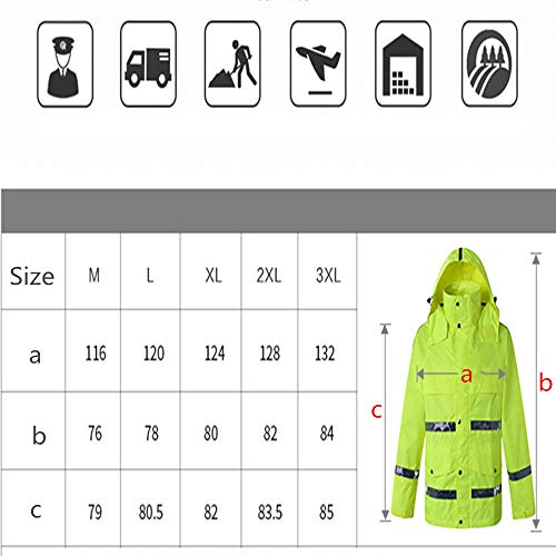 GSHWJS- trash can Waterproof Rain Jacket and Pants, Reflective Safety Raincoat Hooded Poncho Set, Green Reflective Vests (Size : XXXL) by GSHWJS- trash can (Image #7)