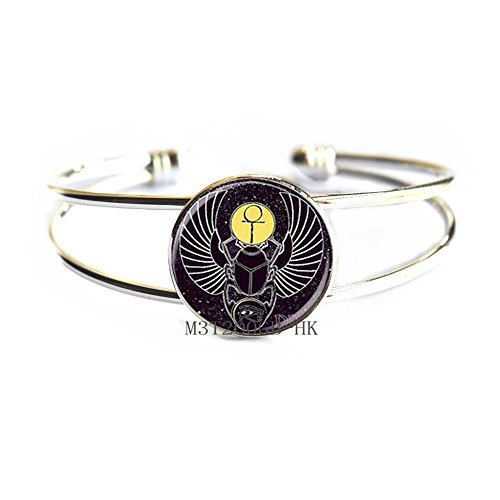 Botewo0lbei Egyptian Scarab Bangle Egyptian Beetle Bracelet Scarab Jewelry ancient egypt jewelry, Egyptian jewelry, Scarab Bracelet, Egyptian Scarab, men's scarab Bangle-MT115 (W1)