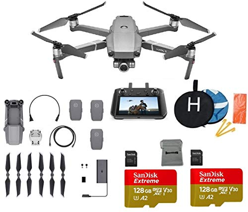DJI Mavic 2 Zoom with DJI Smart Controller Drone Collapsible Quadcopter Bundle with 3 Batteries, 2X 128GB SD Card Supports 4K Video, Landing Pad