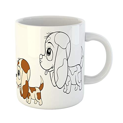 Emvency Coffee Tea Mug Gift 11 Ounces Funny Ceramic Brown Kids Coloring Page Book for Children Little Dog Cartoon Colorful School Gifts For Family Friends Coworkers Boss Mug ()