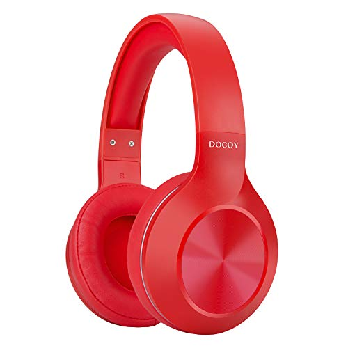 Bluetooth Headphones Over Ear, Wireless Hi-Fi Stereo Headset with Mic, Comfortable Protein Earpads, Portable and Lightweight, 25H Playtime for Airplane Travel Work PC Cell Phones Women, Red