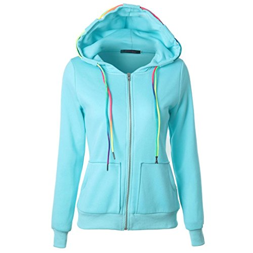 Binmer(TM) Womens Fashion Hoodie Sweatshirt Hooded Coat Zipper Jacket (XL, Blue)