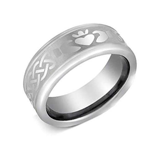 8mm Tungsten Carbide Beveled Edge Classic Irish Claddagh Design Wedding Band Ring For Men and Ladies (Claddagh Ring Design)