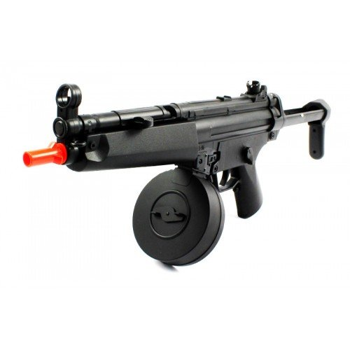 electric aeg well fps-275 d95b airsoft rifle with drum magazine, collapsible stock fully automatic(Airsoft Gun)