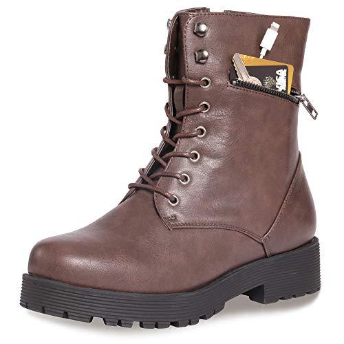 CINAK Military Combat Boots for Women- Winter Autumn Comfort Outdoor Waterproof Martin Booties Mid-Calf Shoes (7.5-8B(M)US/CN39/9.5'', Dark Brown)