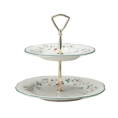 Pfaltzgraff Winterberry Two-Tiered Server With 10 1/2-Inch And 8-Inch Plates And Gold Spacer With Handle