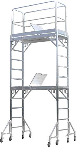 CBM Scaffold Aluminum Rolling Tower Standing at 12' Height with Hatch Deck Guard Rail U Lock ()