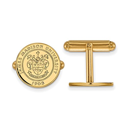 James Madison Crest Cuff Links (14k Yellow Gold) by LogoArt