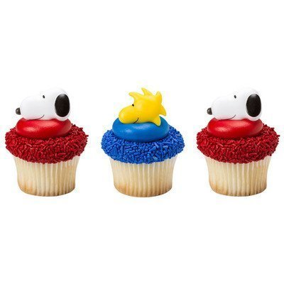 Peanuts Snoopy and Woodstock Cupcake Rings 24 pack Party Favors ()