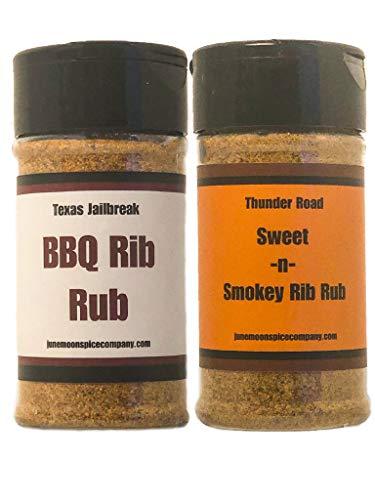 Premium | BBQ & RIB RUB SEASONING | Variety 2 Pack | Thunder Road Sweet-n-Smoky BBQ Rib Rub | Texas Jailbreak BBQ Rib Rub | 3.5 fl. oz.