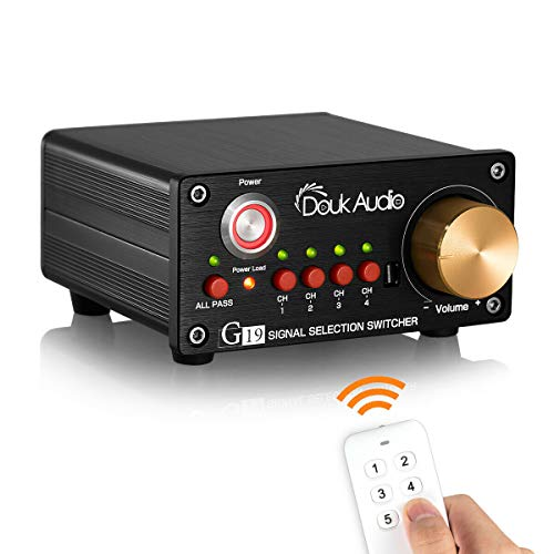 Douk Audio G19 4-Port RCA Audio Switch Box ; Speaker/Amplifier Selector with Remote Control (Rca Switch Remote)