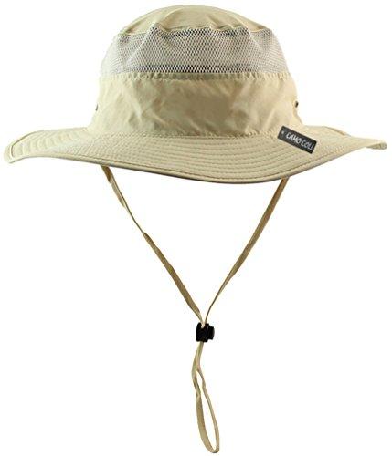 (Camo Coll Outdoor Sun Cap Camouflage Bucket Mesh Boonie Hat (Light Khaki, One Size))