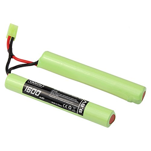 (VANON 1600mAh 9.6V, NiMH Butterfly Battery for Airsoft Guns, AEG/Nunchuck Battery with Mini Tamiya Connector)