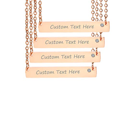 VNOX Customize Minimalist Dainty Rose Gold Plated Stainless Steel Horizontal Bar Friendship Necklace Set for 4
