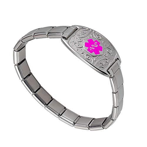 Divoti Deep Custom Laser Engraved Lovely Filigree Stretchable Italian Modular Charm Link Medical Alert Bracelet -Italian Charm Style -Pink