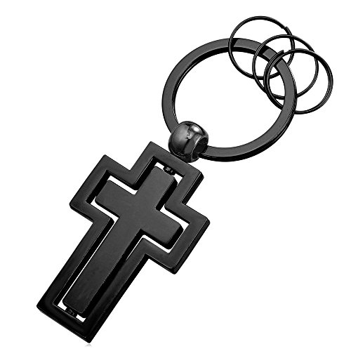 Cross Key Tag Black Gun Metal Key Chain Keyrings for Men (4 Key (Cross Metal Keychain)
