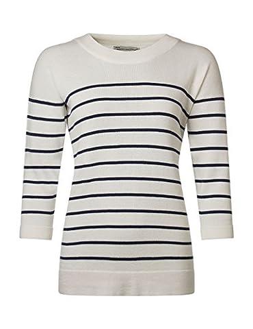 Ladies Made In Scotland 100% Cotton Breton Stripe Tunic-Arctic White-X-Large - Breton Stripe