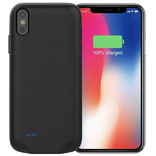Protective Charging Case 5000mah Ultimately Thin Portable Power Bank Ultra Slim Charger Case Rechargeable Charger Case Compatible with iPhone X