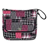 Carly City Cotton Shoulder Pink Black White Handbag Inside Slip and Zip Pockets 11 x 11 x 4 Inches