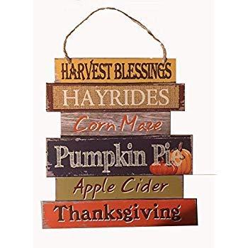 Wooden Hanging Thanksgiving Autumn Themed Decor Sign - 10.5 x 11.5 -