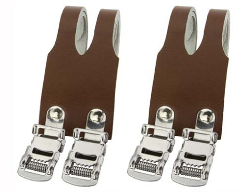 Leather Double Toe Straps Brown. Bike pedal strap, bicycle p