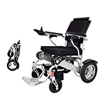 EBEI Electric Wheelchair Folding Lightweight Deluxe Foldable Power Compact Mobility Aid Wheel Chair Weight Only 50 Lbs with Batteries 12Solid Rear Tires More Stable Support 360 Lbs Heavy Duty