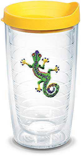 Tervis 1104618 Green Gecko Logo Tumbler with Emblem and Yellow Lid 16oz, Clear