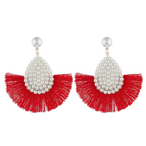 Fan Earrings Handmade Thread Pearl Bohemian Semi-Circle Tassel Ear Drop Dangle for Women (Red)