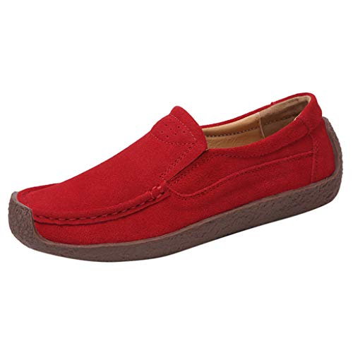 - Toimothcn Women's Casual Loafers Slip On Comfort Driving Boat Flat Boat Shoes Sneakers (Red,US:7.5)