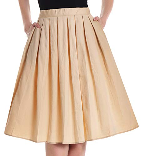 (Yige Women's Vintage A-line Printed Pleated Flared Skirts for Women Khaki-XL)