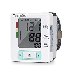 Magicfly Wrist Blood Pressure Monitor with Case, FDA Approved, Heart Zone Guidance and Irregular Heartbeat Detector, 90 Memory Capacity ,Two User Modes