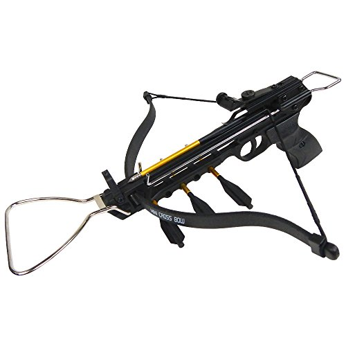 iGlow 80 lb Black Aluminum Hunting Pistol Crossbow Bow with Build-in Arrow Holder +15 Bolts +2 Strings 175 150 50