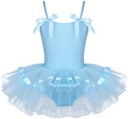 BIFULLIS 子供バレエ レオタード ガールズ専用 バレエドレス 蝶結びリボン 女の子 バレエウェア 体操 ダンスウェア チュチュスカート付き ノースリーブ 5サイズ